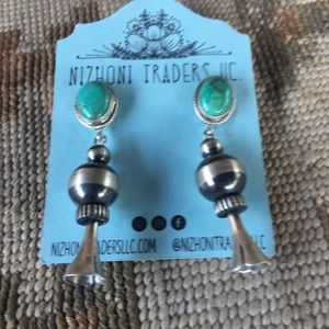 Navajo Turquoise & Sterling Blossom Dangles